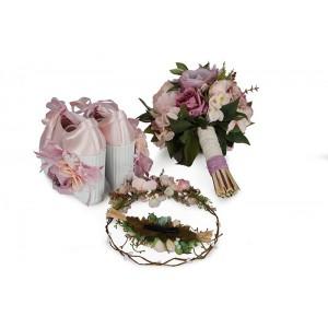Gelin Ayakkabısı Pudra Çiçek Tasarım Seti