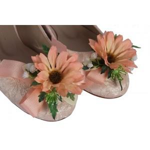 Gelin Babeti Pudra Dantel Kır Çiçekli