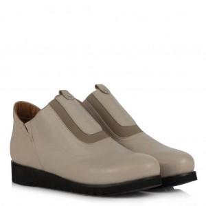 Hakiki Deri Bej Kısa Bot Ayakkabı