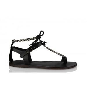 Hakiki Deri Sandalet Siyah Renk