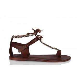 Hakiki Deri Sandalet Taba Renk