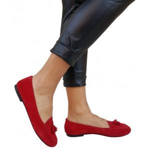 Hakiki Deri Süet Kırmızı Loafer