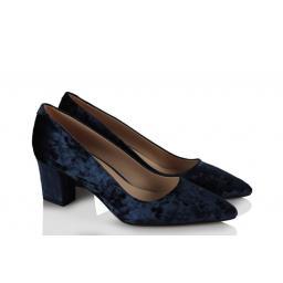 Kadife Stiletto Ayakkabı Bayan Lacivert Rengi
