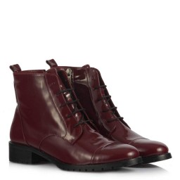 Woman Boot Claret Red Color Patent Leather Wintery Genuine Leather