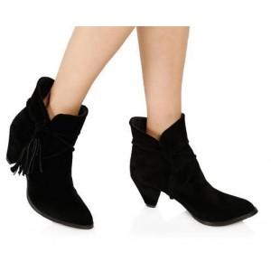 Kadın Bot Siyah Süet Püskül Topuklu Model