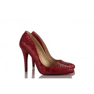 Kadın Stiletto Bordo Siyah Crocodil Ayakkabı