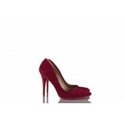 Kadın Stiletto Fuşya Süet Ayakkabı