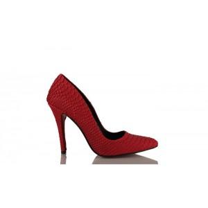 Kadın Stiletto Kırmızı Crocodil Ayakkabı
