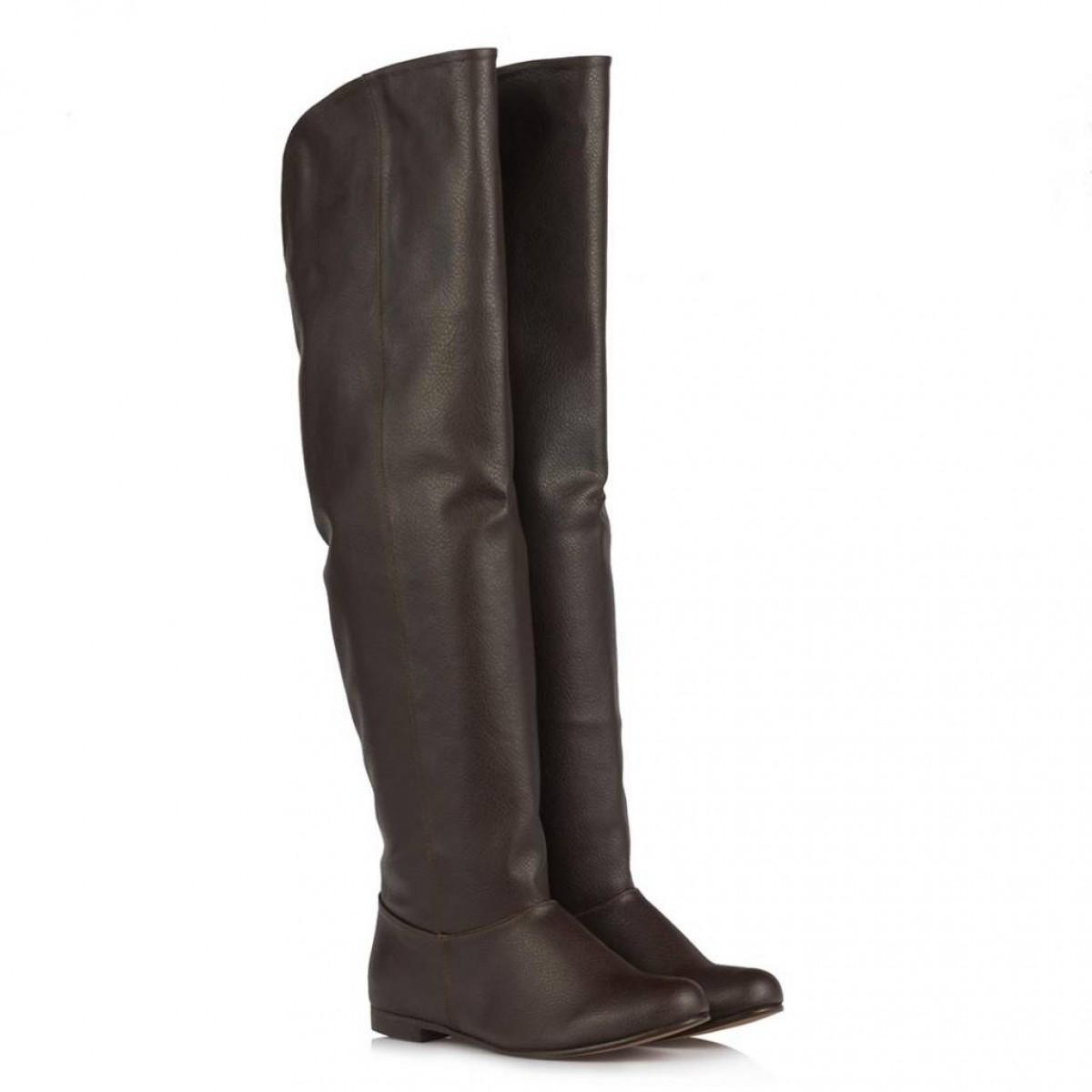 Kahverengi Dizüstü Binici Kadın Çizme