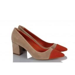 Kalın Topuklu Ayakkabı Bej Turuncu Detaylı