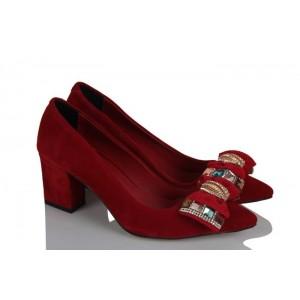 Kalın Topuklu Ayakkabı Kırmızı Süet Şık Tokalı
