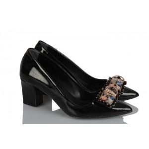 Kalın Topuklu Ayakkabı Siyah Rugan Şık Tokalı