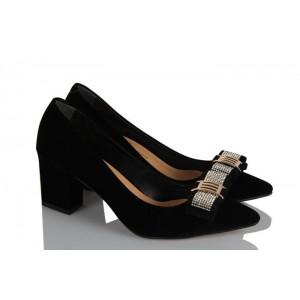Kalın Topuklu Ayakkabı Siyah Süet Şık Tokalı