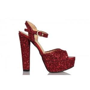 Kırmızı Cam Kırığı Platform Açık Ayakkabı