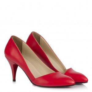 Kırmızı Mat Çapraz Stiletto