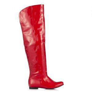 Kırmızı Rugan Dizüstü Binici Kadın Çizme