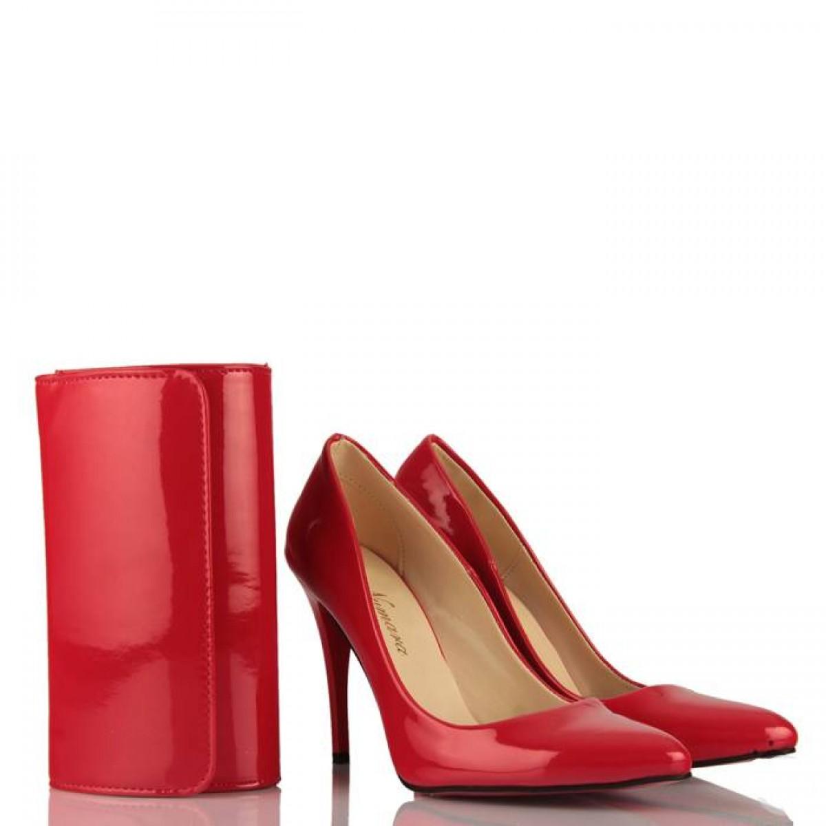 Kırmızı Rugan Stiletto Portföy Takımı