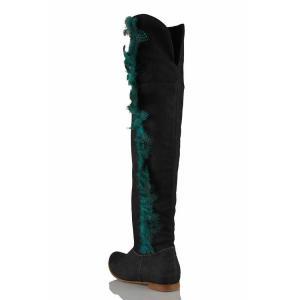 Kot Yazlık Mavi Kaz Tüyü Tasarım Kadın Çizme