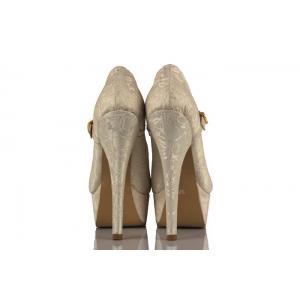 Krem Dantel 21 Pont Bantlı Gelinlik Ayakkabı