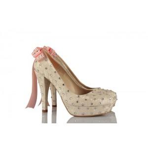 Krem Dantel Kurdeleli Taşlı Model Gelinlik Ayakkabı