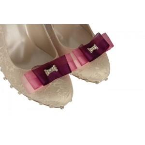 Krem Dantel Pembe  Mor Fiyonk Tasarım Gelinlik Ayakkabı