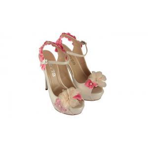 Krem  Pembe Çiçek Özel Tasarım Gelinlik Ayakkabısı