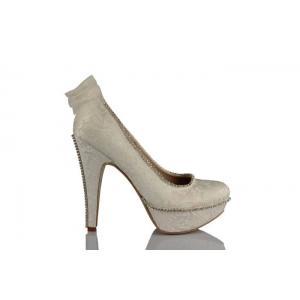 Krem Taşlı Arkadan Fiyonklu Gelinlik Ayakkabısı