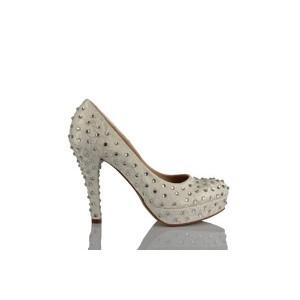 Krem Taşlı Tasarım Gelinlik Ayakkabısı