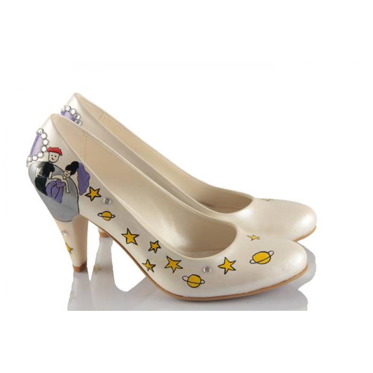 Küçük Prens El Boyama Tasarım Gelinlik Ayakkabı 37numaracom