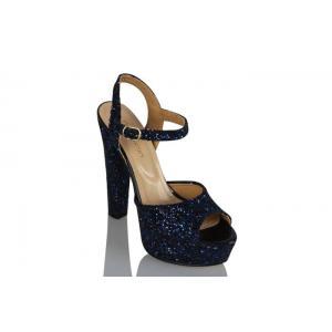 Lacivert Cam Kırığı Platform Açık Ayakkabı