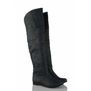 Lacivert Düz Dizüstü Kadın Çizme