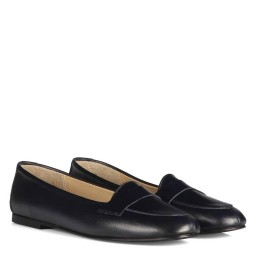Lacivert Hakiki Deri Babet Ayakkabı
