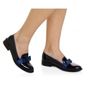 Lacivert Rugan Fiyonklu Bayan Ayakkabı