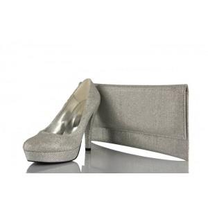 Lame Simli Abiye Kadın Ayakkabı & Portföy Takımı