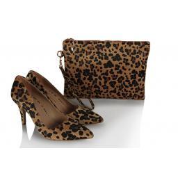 Leopar Stiletto Ayakkabı  Clutch Çanta Takım