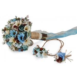 Mavi Bahar Çiçekler Gelin Buketi Tacı Yaka Çiçek Takım