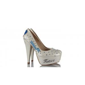 Mavi Kalpler Tasarım Düğün Ayakkabısı
