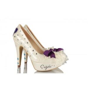 Mor Fiyonk Gelin Damat Tasarım Düğün Ayakkabısı