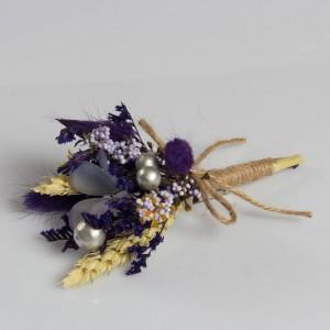 Mor Kuru Çiçek Arajman Yaka Çiçeği
