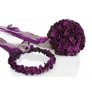 Mor Menekşe Gelin Buketi Tacı Yaka Çiçek Takım