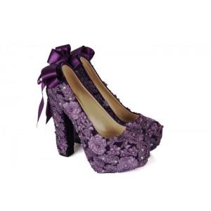 Mor Renkli Gelin Ayakkabısı Dantelli Model