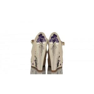 Mor Tasarımlı Düğün Ayakkabısı