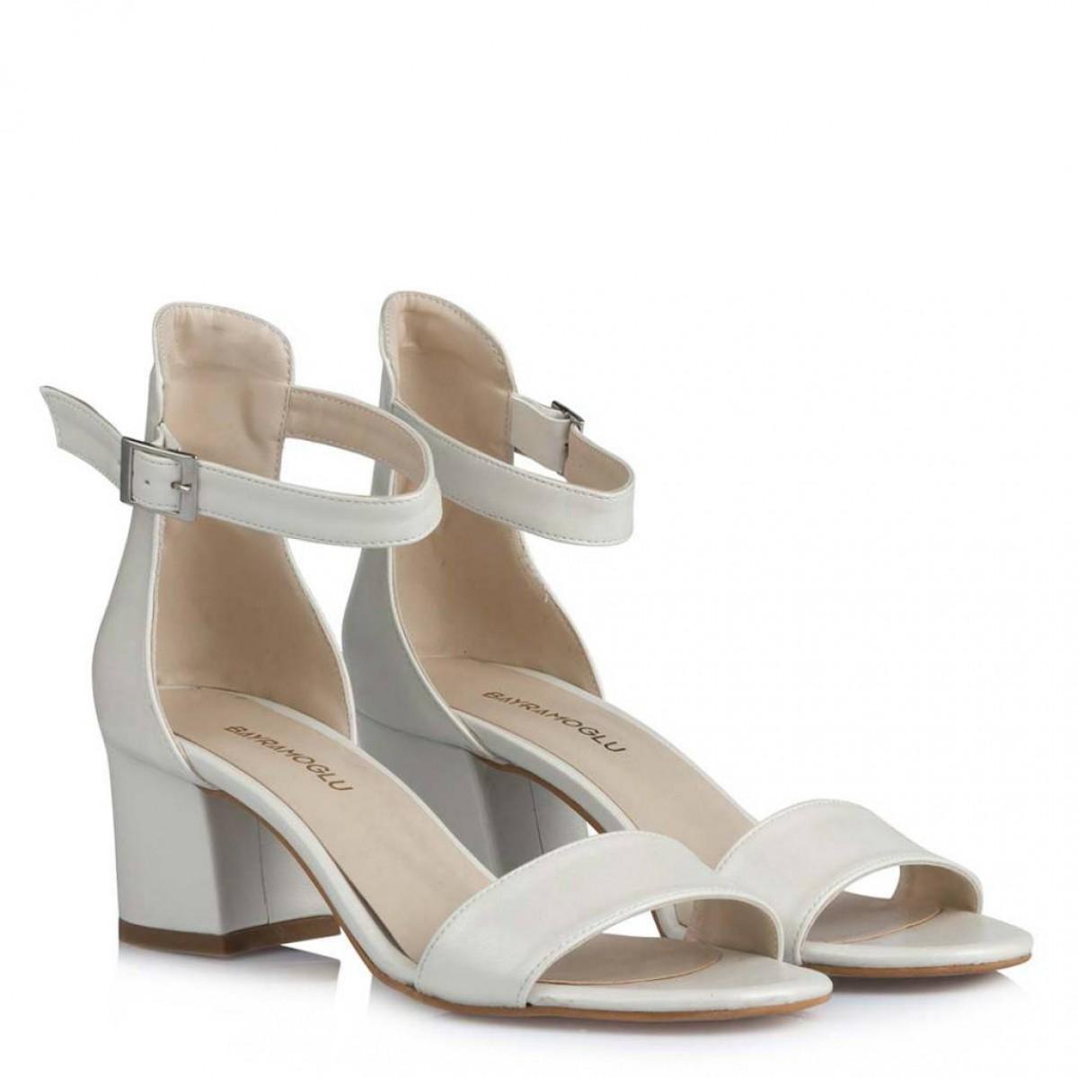 Nikah Ayakkabısı Az Topuk Tek Bantlı Kırık Beyaz