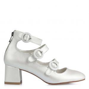 Nikah Ayakkabısı Az Topuklu Kırık Beyaz Bantlı Model