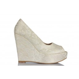 Nikah Ayakkabısı Dantel Dolgu Topuk 19 Pont