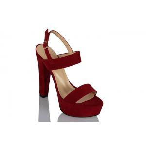 Platform Ayakkabı Bantlı Kırmızı Süet