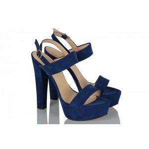 Platform Ayakkabı Bantlı Saks Mavi Süet