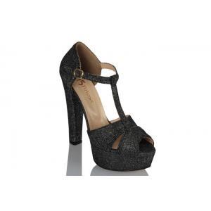 Platform Ayakkabı Füme Simli Kumaş