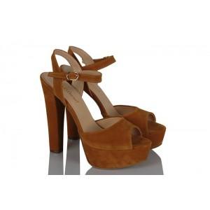 Platform Ayakkabı Hardal Süet Modeli