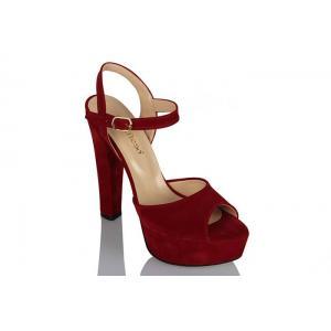 Platform Ayakkabı Kırmızı Süet Modeli